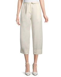Carven High Waist Wide Leg Ankle Wool Trousers Ivory
