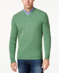 Club Room Cashmere V Neck Solid Sweater Oatmeal Heather