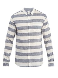 Solid And Striped Button Down Cotton Linen Shirt Navy Multi