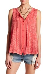 Johnny Was Sleeveless Button Up Embroidered Tank