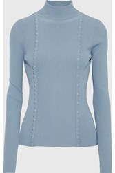 Red Valentino Redvalentino Woman Studded Ribbed Knit Turtleneck Sweater Light Blue