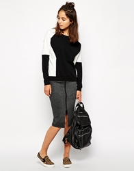 Vero Moda Zip Front Pencil Skirt Blackwhite