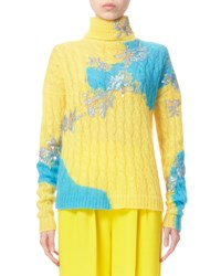 Delpozo Bicolor Cable Knit Turtleneck Sweater Blazing Yellow