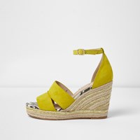 River Island Yellow Strappy Espadrille Wedges