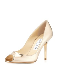 Jimmy Choo Evelyn Metallic Leather Peep Toe Pump Nude