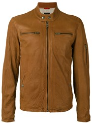 Fay Zipped Jacket Men Cotton Leather Polyester M Brown