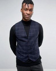 Selected Homme Slim Waistcoat In Wool Check Navy