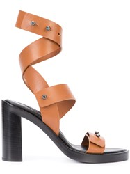 Ann Demeulemeester Strappy Sandals Women Leather Bullhide Leather 39 Brown