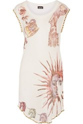 Just Cavalli Studded Printed Stretch Modal Mini Dress White