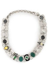 Iosselliani Woman Silver Tone Agate And Crystal Choker Silver