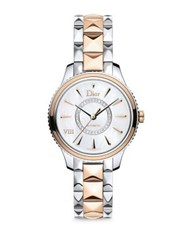 Christian Dior Dior Viii Montaigne Diamond 18K Rose Gold And Stainless Steel Automatic Bracelet Watch Rose Gold Silver