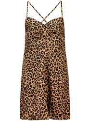 Michelle Mason Leopard Print Mini Dress Brown