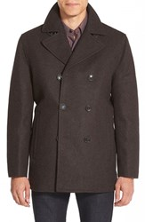 Men's Michael Kors Wool Blend Double Breasted Peacoat Brown Heather