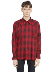 Saint Laurent Raw Cut Checked Viscose Western Shirt