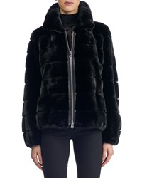 Gorski Zip Front Horizontal Mink Short Jacket Black