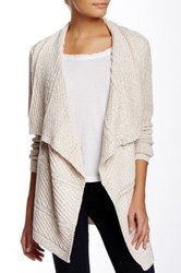 Chaus Long Sleeve Cable Knit Marled Cardigan Beige