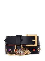 Alexander Mcqueen Mixed Charm Double Wrap Leather Bracelet Black