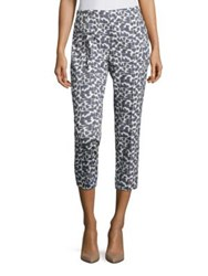 Peserico Geometric Brush Painted Cropped Pants Dusty Blue