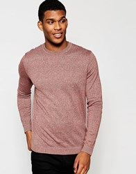 Asos Crew Neck Jumper In Cotton Pink