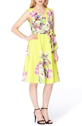 Tahari Women's Print Faux Wrap Dress Citrine Lilac Green