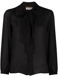 Saint Laurent Textured Pussy Bow Fastening Blouse 60