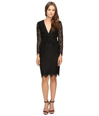 Adelyn Rae Lace Long Sleeve Dress With Ruffle Peplum Black Women's Dress
