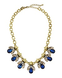 Greenbeads By Emily And Ashley Crystal Cluster Bib Necklace Blue Taupe