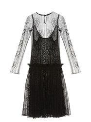 Alexander Mcqueen Drop Waist Lace Dress Black