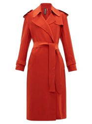 Norma Kamali Belted Cady Trench Coat Red
