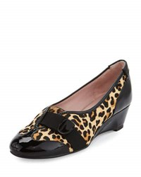 Taryn Rose Platz Leopard Print Calf Hair Demi Wedge Flat Jet