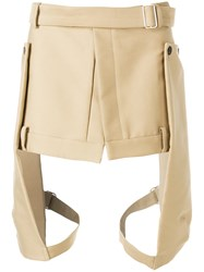 Les Hommes Leg Strap Shorts Nude And Neutrals