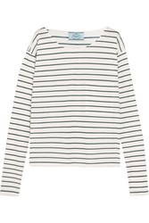 Prada Striped Cotton Jersey Top Cream