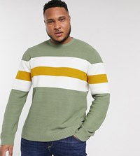 Only And Sons Stripe Crew Neck Jumper In Green