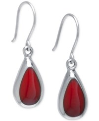Macy's Red Jasper Teardrop Earrings 10 X 6.5Mm In Sterling Silver