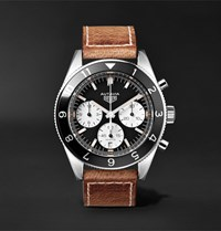 Tag Heuer Autavia Automatic Chronograph 42Mm Polished Steel And Leather Watch Brown