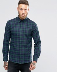 Noose And Monkey Skinny Shirt In Tartan Green