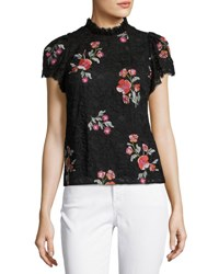 Rebecca Taylor Short Sleeve Floral Embroidered Lace Top Black