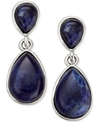 Inc International Concepts Silver Tone Blue Stone Drop Earrings Only At Macy's