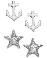 Charter Club Gold Tone Duo Set Of Anchor And Starfish Stud Earrings Only At Macy's Silver