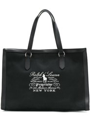 Ralph Lauren Embroidered Tote Bag Cotton Black