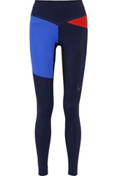 Lucas Hugh Rio Color Block Mesh Paneled Stretch Leggings Midnight Blue