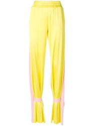 Marco Bologna Contrast Side Panel Tie Ankle Trousers Yellow And Orange