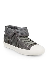 Saks Fifth Avenue Gray Ettore Perforated Mixed Media Sneakers Slate
