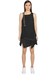 Diesel Black Gold Cotton Twill And Macrame Lace Dress