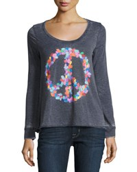 Chaser Finger Pain Peace Sign Top Navy