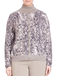 Basler Plus Size Graphic Print Cardigan Taupe Off White