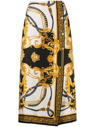 Versace Baroque Silk Wrap Front Cropped Trousers 60