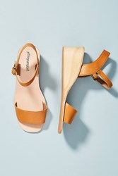 Jeffrey Campbell Brook Wooden Wedge Sandals White