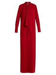 Sonia Rykiel Satin Backed Crepe Maxi Dress Red