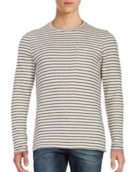 Selected Long Sleeve Striped Knit Pullover Egret